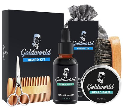 goldworld natural and organic premium beard care kit in stylish box with carrying bag perfect gift set for men