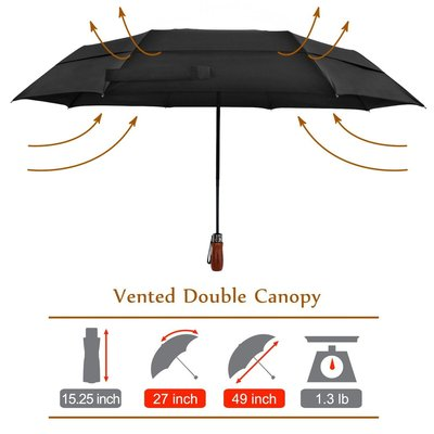 lejorain auto large folding golf umbrella with 54in large canopy includes umbrella carrying case with a quality zip