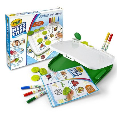 crayola color wonder mess free art desk with stamps and large storage case