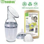haakaa bpa free 100% food-grade silicone manual breast pump and bottle set 250ml