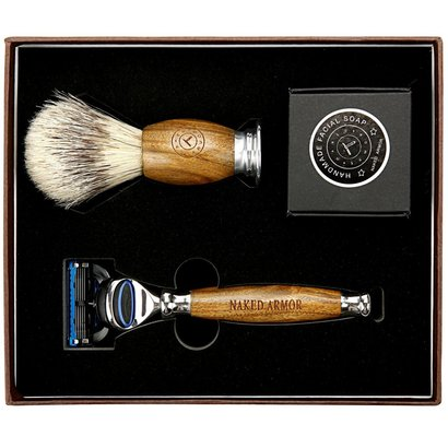 naked armor wet shave kit includes brazilian sandalwood razor, wood carved brush and handmade organic soap in beautiful box for gifting