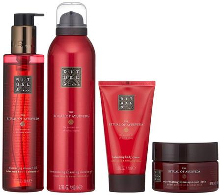 The Ritual of Ayurveda 4 pieces Gift Set includes Body Scrub, Shower