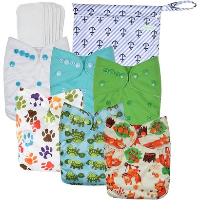 wegreeco baby cloth pocket diaper set includes 6 cute patterns diapers + 6 diaper inserts + 1 diaper bag