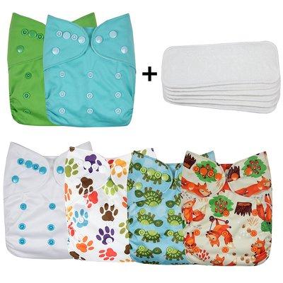 wegreeco baby cloth pocket diaper set includes 6 cute patterns diapers + 6 diaper inserts + 1 diaper bag