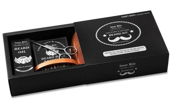 comfy mate isner mile premium beard kit in luxury gift box includes beard oil, balm, brush, comb and beard scissor