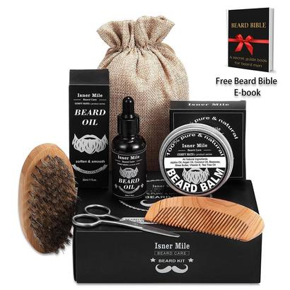 comfy mate isner mile premium beard kit in luxury gift box includes beard oil, balm, brush, comb and beard scissor