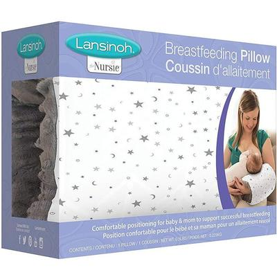 lansinoh the nursie breastfeeding pillow - compact and portable soft nursing pillow for mom and baby ideal for c-sections
