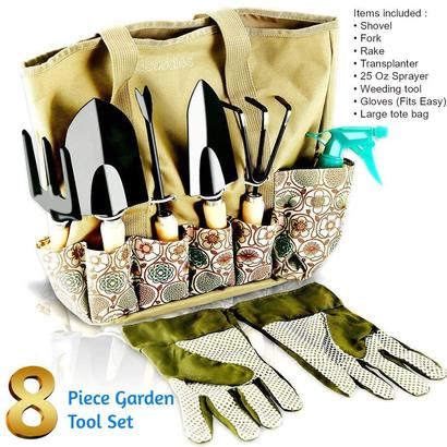 scuddles ultimate 8 piece garden tool set includes 5 piece steel digging tools, 25 oz sprayer - flower mister, garden gloves and large tote bag - great gift for gardeners