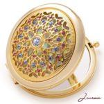 jinvun 24k electroplate makeup, vanity, round mirror for women in deluxe gift box