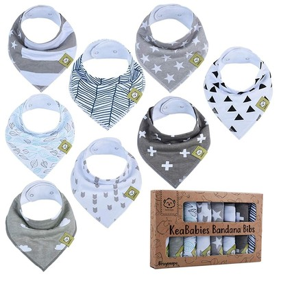 keababies 100% organic cotton baby bandana drool bibs with adjustable size perfect baby shower gift - comes with 8 bibs in cute gift box