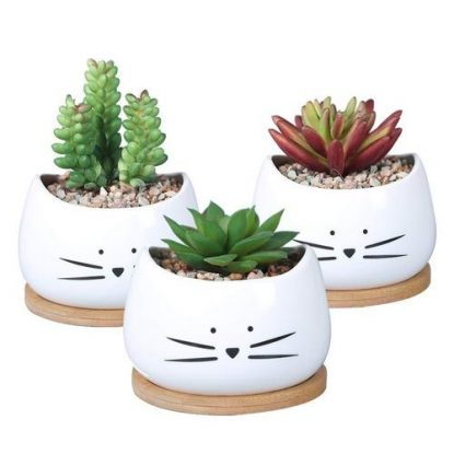 KoolKatKoo Ceramic Cute Cat Succulent Planter