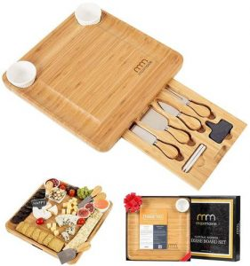 MaxMoxie Natural Bamboo Cheese Board Set