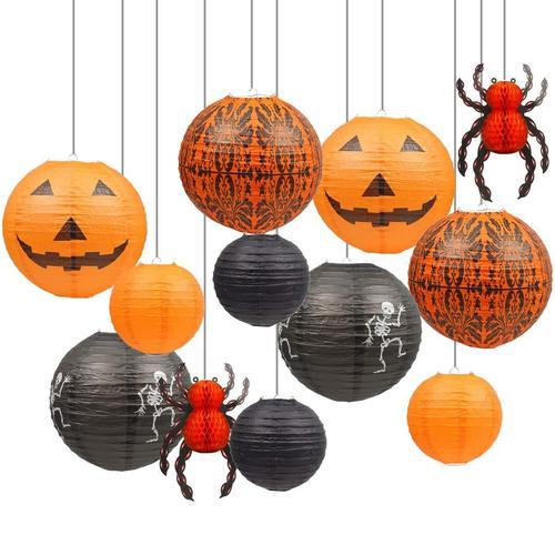 UNIQOOO Set of 12 Hanging Paper Lantern Halloween Home Decoration
