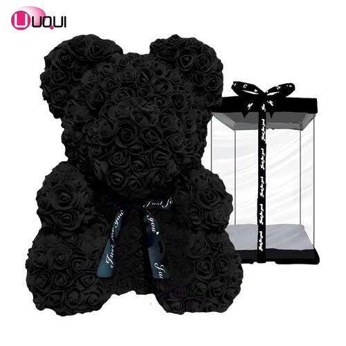 Vivid Handmade Artificial Flower Black Rose Bear in Gift Box by U UQUI