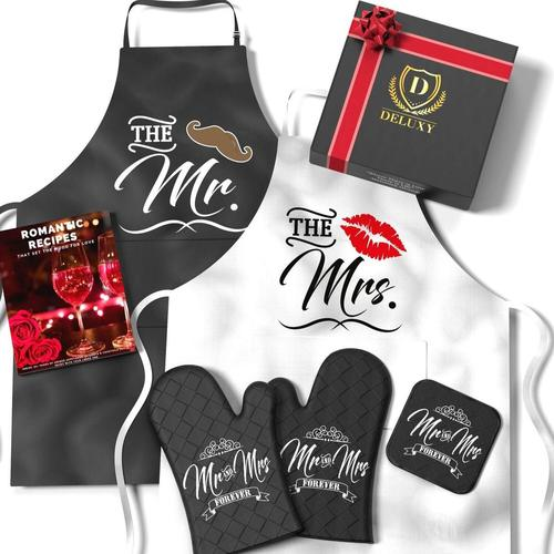 DELUXY Mrs and Mr Cooking Aprons includes Oven Mitts, Pot Holder, Recipes Book Best Couples Gift