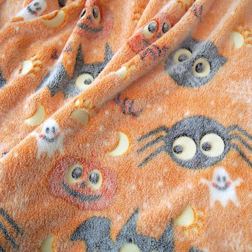 Forestar Glow Hypoallergenic Soft Machine Washable Blanket with Halloween Design for Kids