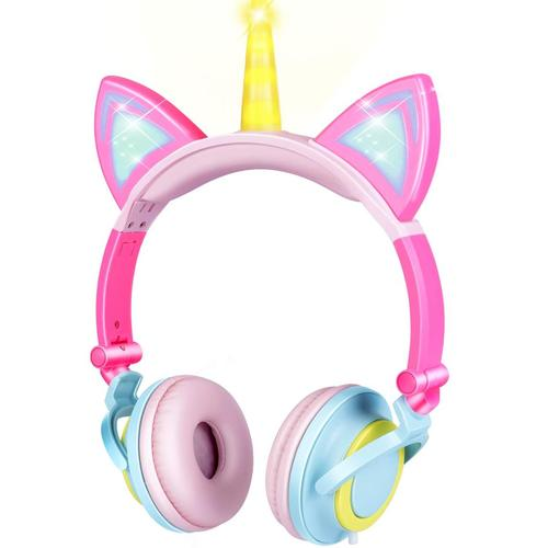 Light Up at Night Foldable Unicorn Kids Cat Ear Headphone by GBD