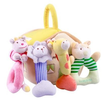 iPlay, iLearn Soft Stuffed Animal Plush Baby Rattles with Realistic House for Storage