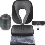proglobe ultimate 4-in-1 airplane travel set includes blanket, neck pillow, 3D eye mask, earplugs