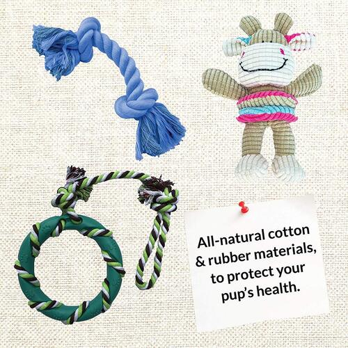 6 all-natural rubber and cotton fiber chewing toys for puppies and small dogs from rocket & rex