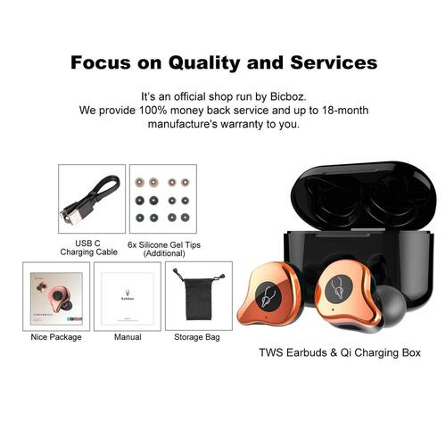 Bicboz Sabbat E12 True Wireless Bluetooth 5.0 Earbuds Noise Canceling Mic, IPX5 with Wireless Charging Box