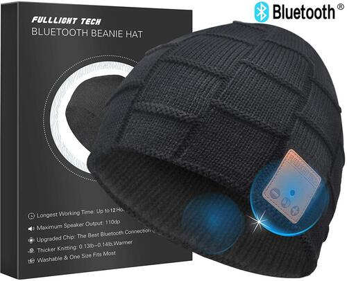 FULLLIGHT TECH Bluetooth Beanie Hat with Responsive Control Panel in Right Ear
