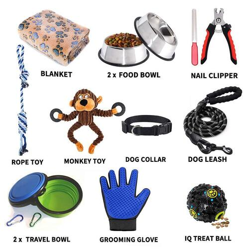 LOBEVE 12 pieces Puppy Supplies Set Suitable for All Dogs the Perfect Gift for New Puppy or Dog Owner