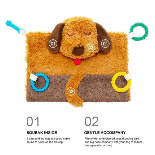 PUPTECK Plush Dog Interactive Toy include chewing toys, squeaky toys, blanket and mat