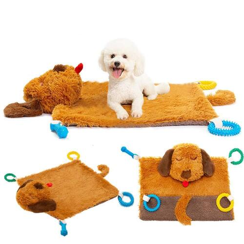 PUPTECK Plush Multi-function Dog Mat with Durable Chew Toys