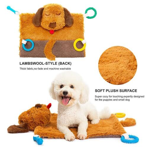 PUPTECK Plush Multi-function Machine Washable Dog Mat with Durable Chew and Squeaky Toys