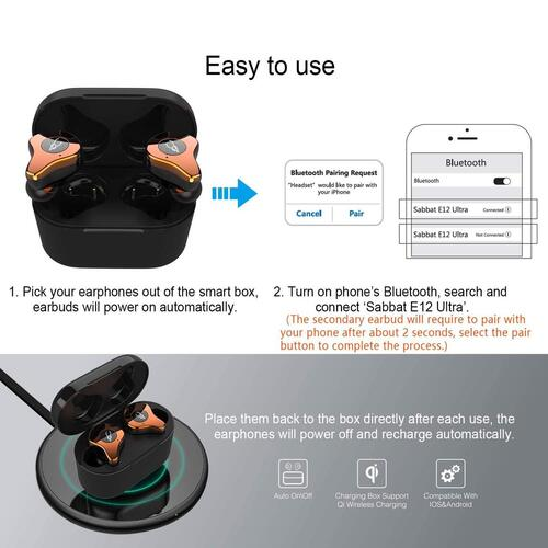 True Wireless Earbuds with Qi Charging Box includes 6 Silicone Gel Tips by Bicboz