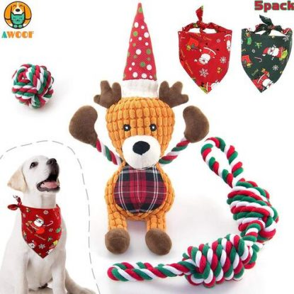 AWOOF 5 Pack Christmas Dog Gift Set