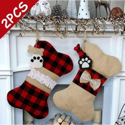 AerWo Large 2pcs Dog Christmas Stockings