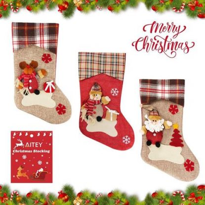 Aitey High quality Flannelette, Linen, and fiber fur Christmas Stocking