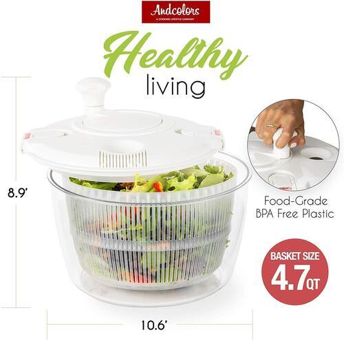 Andcolors BPA-free Salad Spinner with 2 clip locking tab, filling port and draining