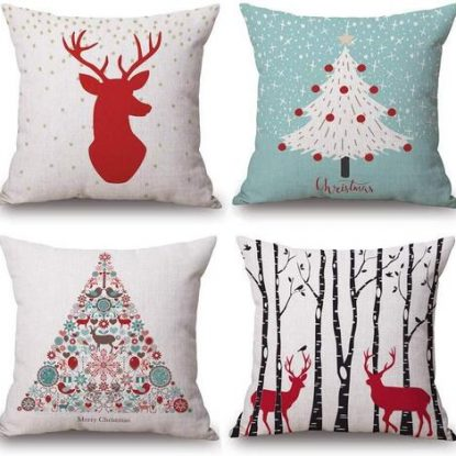 Asamour 4 pcs Cotton Christmas Pillow Covers with Hidden Zipper Closure