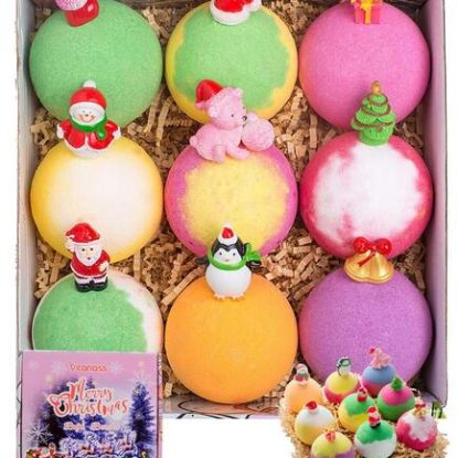 Christmas 9 pcs Large Bath Bombs Set with Surprise Toys Inside by VITANASS