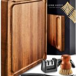 HOME HERO 1.5 inches Double Sided Acacia Cutting Board include 3 Bonus Items in Beautiful Gift Package