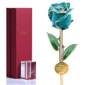 Icreer 24K Gold Preserved Real Rose with K9 Crystal Stand and Decoration Pendant in Gift Box