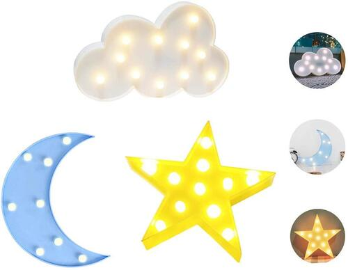 LUCKIEY Star, Crescent, and Cloud LED Night Lights Home Decoration