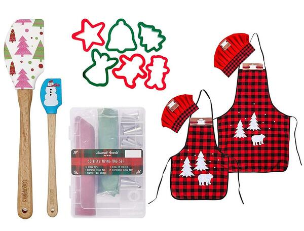 The Best Christmas Gift Set Adult and Child Apron Chef Set with Accessories by Sister Novelties