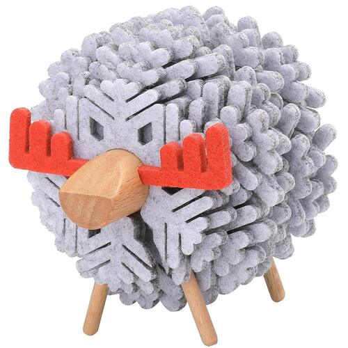 VANTOO 100% Pure Felt and Eco Friendly 14 pcs Snowflake Coasters with Deer Holder