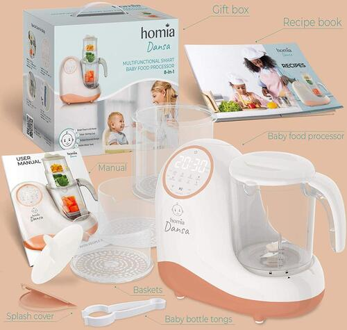 homia Dansa Multifunctional Baby Food Maker with Smart Touch LED Panel