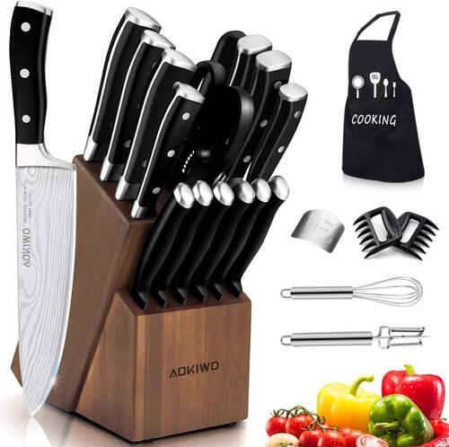 AOKIWO 21pcs German Stainless Steel Kitchen Knife Block Set