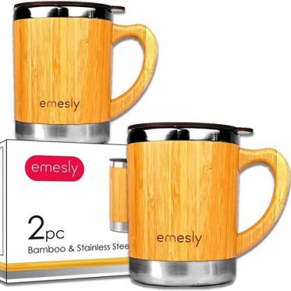 Emesly 2 pcs Stainless Steel Insulated Bamboo Coffee Mugs Tumblers Cups with Spill Resistant Proof Lids