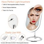 Fugetek 3 Color Lighted 10x Magnification Vanity Makeup Mirror features USB and Rechargeable Battery Power
