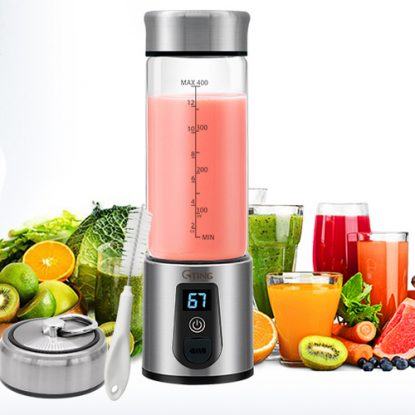 G-TING Stainless Steel and Glass Compact and Portable Personal Blender with 6 Blades and Intelligent Safety Protection Induction