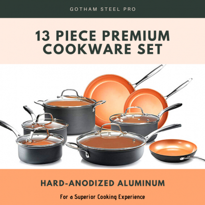 Gotham Steel Pro Hard-anodized Aluminum 13 Piece Premium Cookware Set