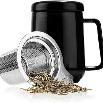 Tealyra Peak 19oz Ceramic Mug with Stainless Steel Removable Infuser, Ceramic Handle and Lid