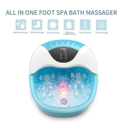 Turejo Foot Spa Massager with Rollers and Bubble Massager, Pumice Stone and Infrared controlled PTC Heating